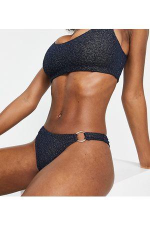 Wolf & Whistle Fuller Bust Exclusive high leg bikini bottom with ring detail in metallic navy