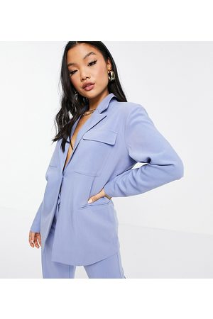 4th & Reckless Petite 4th + Reckless Petite oversized blazer in blue