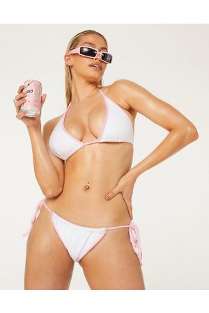 New Girl Order Exclusive terry towelling tie side bikini bottom in white with pink bind