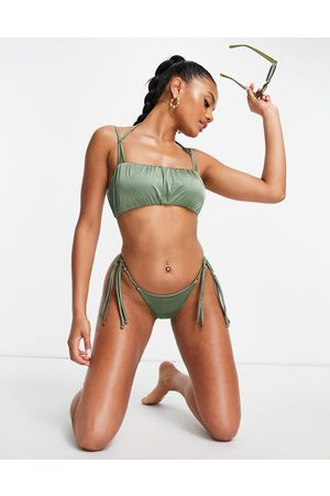 ASOS Strappy gathered bandeau bikini top in khaki-Green