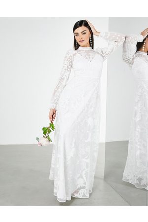 ASOS EDITION Violet placement embroidered wedding dress with high neck-White