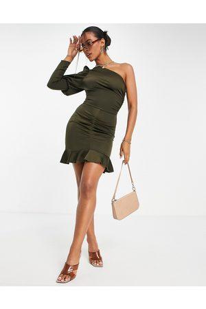 AX Paris Damen Asymmetrische Kleider - One shoulder mini dress in olive-Green