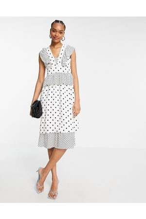 Y.A.S Midi dress with tier detailing in multi print