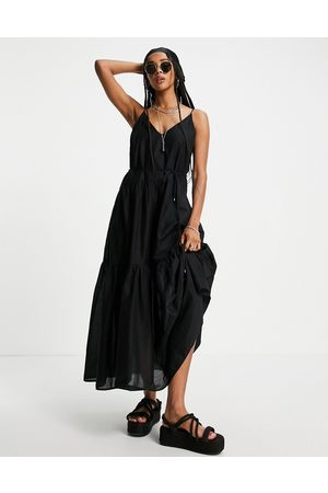 Only Cami maxi dress with tiering and tie waist in black