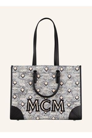 MCM Damen Shopper - Shopper Vintage Jacquard Mit Pouch grau