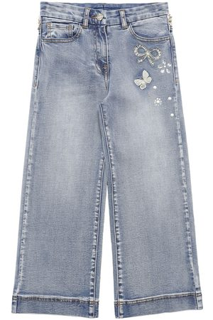 MONNALISA Damen Jeans - Jeans Aus Baumwolldenim Mit Weitem Bein