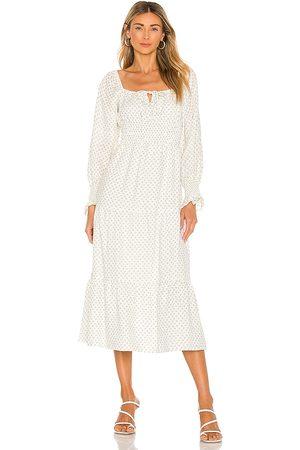 FAITHFULL THE BRAND Dariya Midi Dress in - White. Size L (also in XS, S, M, XL).