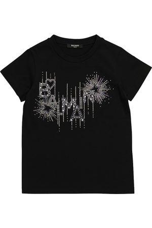 Balmain Mädchen Shirts - T-Shirt aus Baumwolle mit Logo
