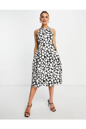 ASOS DESIGN High neck cut out lace up side midi skater dress in geo print-Multi