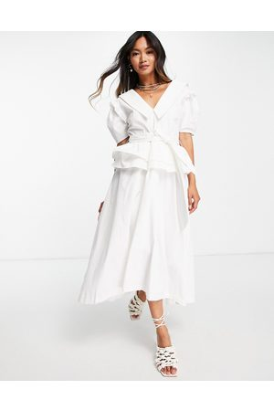 Lost Ink Midi dress with vintage collar and full skirt in poplin-White