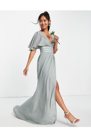 ASOS Bridesmaid flutter sleeve maxi dress with satin trim detail and wrap skirt-Green