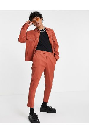 ASOS DESIGN Co-ord crinkle smart trucker jacket in rust-Brown