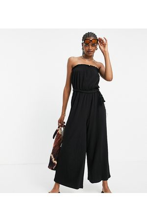 ASOS Tall ASOS DESIGN tall bandeau rope tie jumpsuit in black