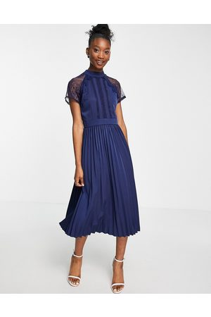 Liquorish A line lace detail midi dress with pleated skirt in navy
