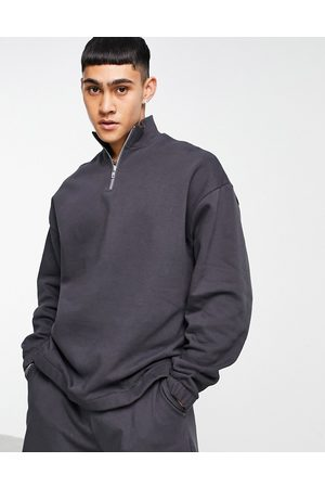 ASOS Tracksuit with oversized half zip sweatshirt and oversized short in washed black