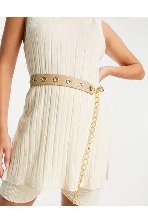 ASOS Damen Gürtel - Waist belt with eyelet and chain detail in -Neutral