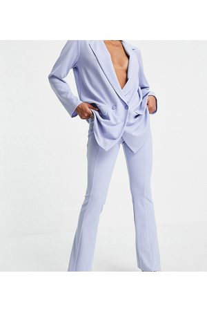 ASOS ASOS DESIGN Petite jersey suit low rider baby kick flare trousers in lavender blue