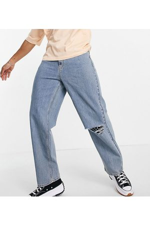 COLLUSION X014 90s baggy jean with rips in stonewash blue