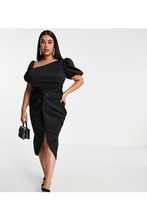 ASOS Curve ASOS DESIGN Curve asymmetric puff sleeve knot tuck midi dress in black-Multi