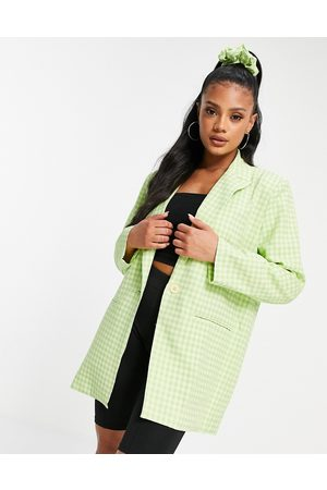 Heartbreak Mix and match gingham blazer with scrunchie in lime-Green