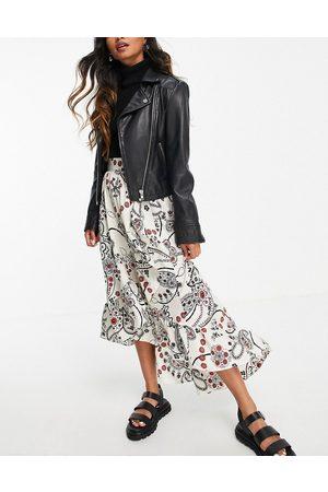Topshop Paisley ruffle skirt in white