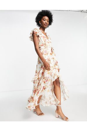 Forever New Ruffle maxi dress in antique floral print-Multi