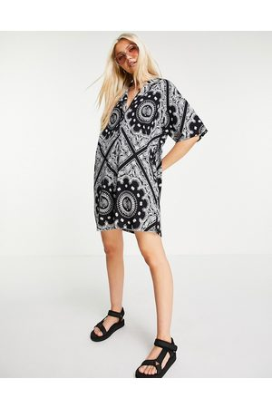 ASOS DESIGN Shirt dress in black and white bandana print-Multi