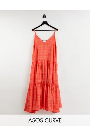 ASOS EDITION Curve tiered cami maxi dress in organza check in tomato red