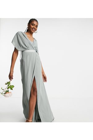 ASOS ASOS DESIGN Tall Bridesmaid short sleeved cowl front maxi dress with button back detail in olive-Green