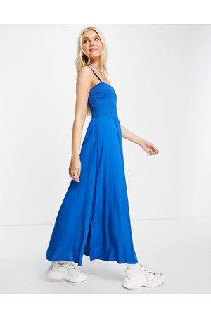 Aeropostale Damen Freizeitkleider - Shirred midi dress in blue
