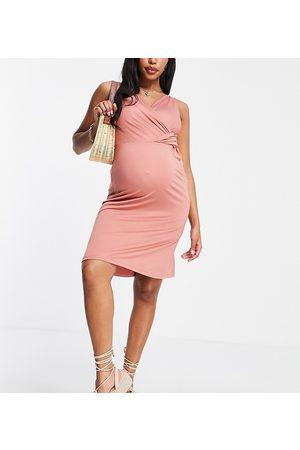 Mama.licious Mamalicious jersey wrap dress in pink