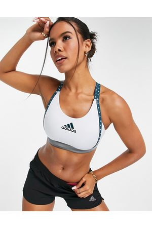 adidas Damen Sport BHs - Adidas Training mid support bra with taped logo in light blue