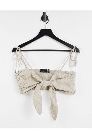 ASOS Tie front bralet co-ord in laundered brown stripe