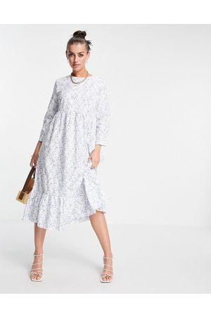 Glamorous Maxi smock dress with peplum hem in blue ditsy