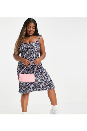 Yours Mini dress with ruffle detail in blue ditsy floral