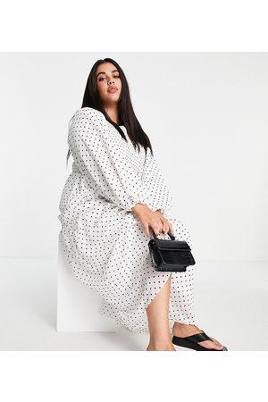 ASOS Curve ASOS DESIGN Curve shirred bodice maxi dress in white spot print-Multi