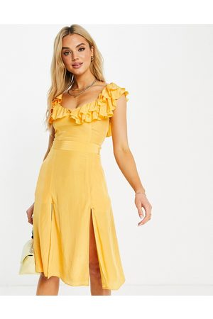 French Connection Almedina frill neck dress in