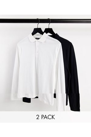 ASOS 2 pack long sleeve jersey polo save-Multi