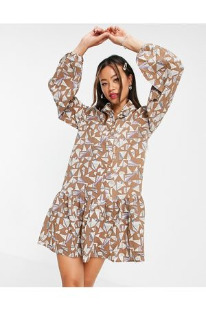 VILA Damen Freizeitkleider - Drop hem dress in print-Multi