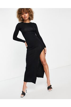 I Saw It First Jersey maxi dress with side split in black