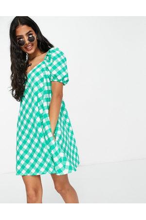 ASOS Textured puff sleeve mini dress in green gingham print-Multi
