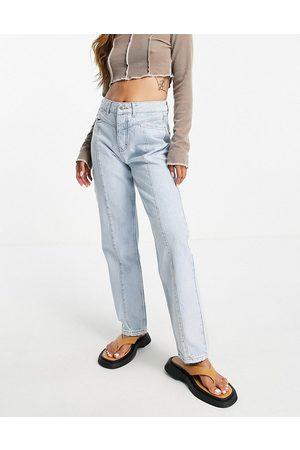 Bolongaro Madonna straight leg seam detail jeans in bleach blue