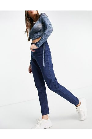 I saw it first High waisted mom jeans in dark wash-Blue
