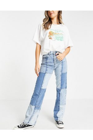 Topshop Patchwork 90's straight leg jeans in bleach-Blue