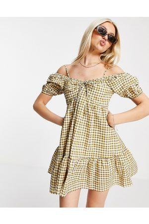 Urban Revivo Off the shoulder mini dress in check print-White