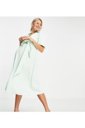 ASOS Maternity ASOS DESIGN Maternity wrap shirt midi skater dress with self belt in mint-Green