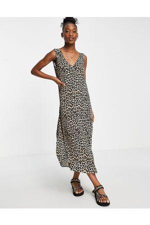 ASOS Plunge neck maxi dress in animal print-Multi