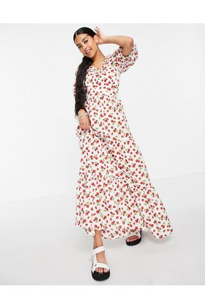 ASOS Puff sleeve tiered maxi dress in strawberry print-Multi