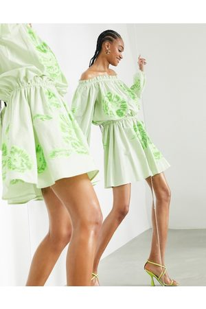 ASOS Off shoulder floral embroidered mini dress with tie waist in apple green