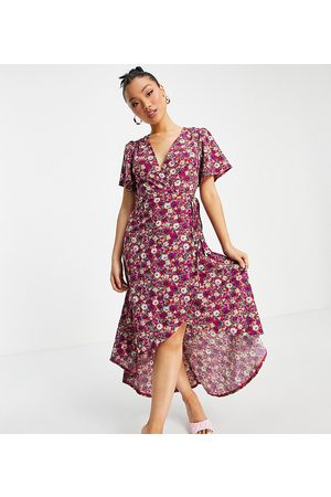 Missguided Petite Floral wrap midaxi dress in purple